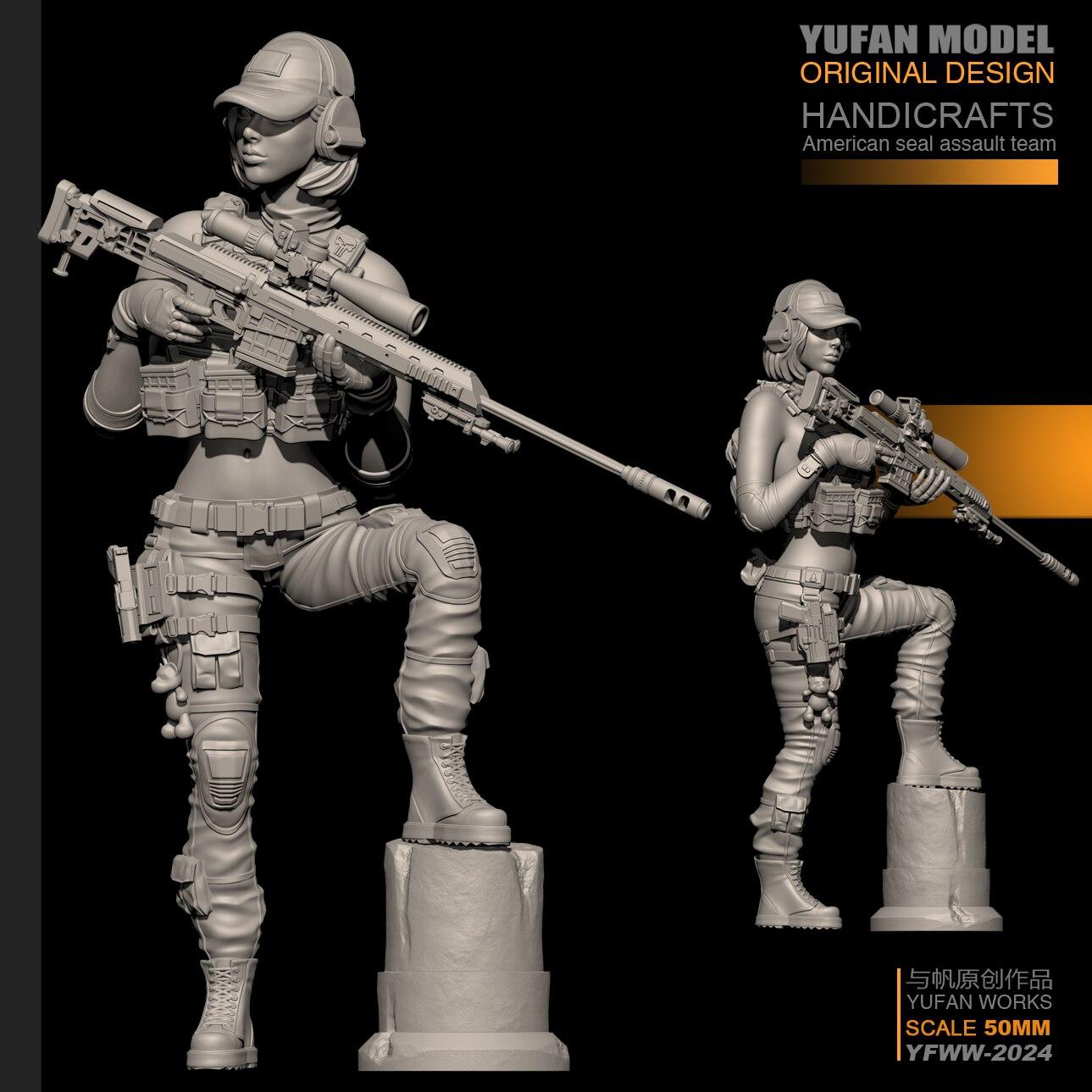 YUFan sniper soldado resina Modelo 1/35 Kits de Resina do sexo feminino Auto-montado YFWW35-2024