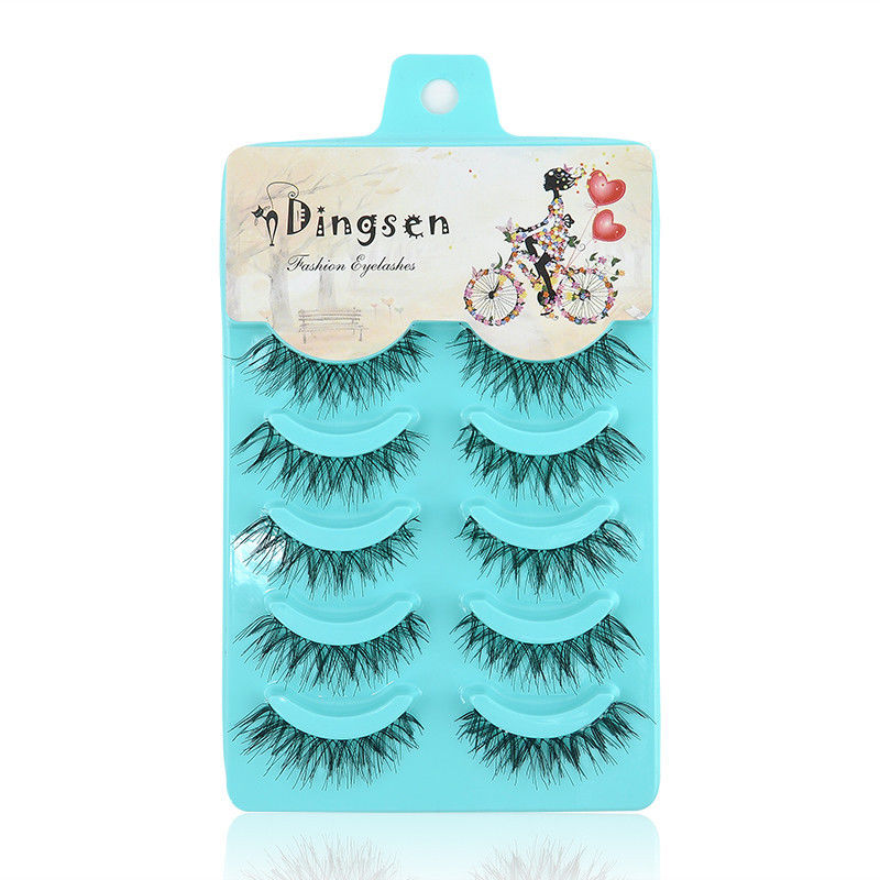 HHFF DINGSEN 5 Pairs Natural Messy Cross Eye Lashes Makeup Handmade Soft Black False Eyelashes