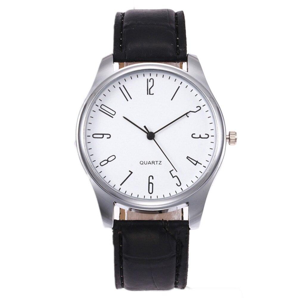 1PCS Men's Leather Watch 2019 Simple Digital Scale Black & White Alloy Dial Fashion Quartz Analog Watch Zegarki Damskie A60