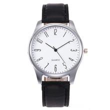 1PCS Men's Leather Watch 2019 Simple Digital Scale Black & W