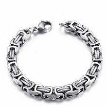 Men's 316L Stainless Steel Jewelry Punk Style Silver Color Double Hand Chain Men Bracelet For Male
