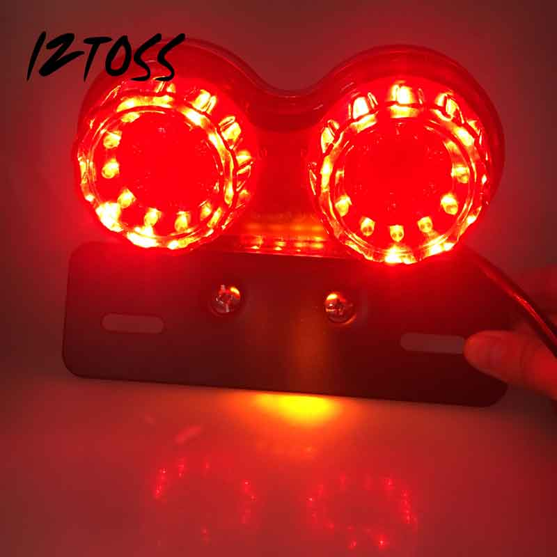 Motorcycle LED T(red) Double Lamp Taillights (black metal bracket) 12V Replacement Lights Bulds
