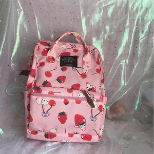 Image 2 - Japanese Style Harajuku Backpack Girl Cute Cartoon Style Ulzzabg Backpack Kawaii Strawberry Rabbit Leisure Backpack School Bag