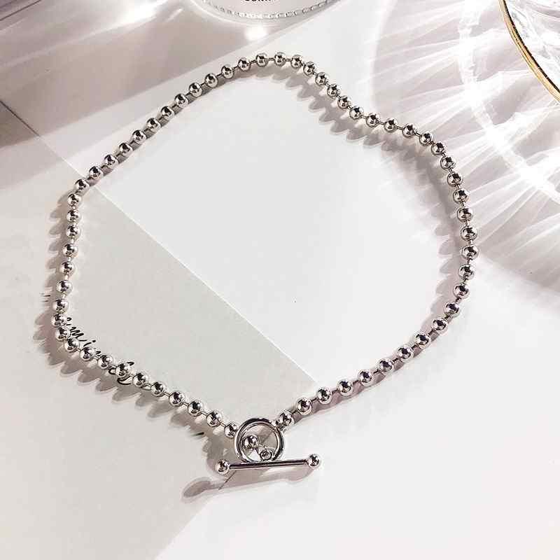 Osobowość metalowe koraliki choker łańcuszek naszyjnik kobiety 2019 moda biżuteria złoty i srebrny kolor komunikat Collares