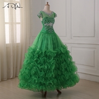 ADLN Girls Pageant Dresses Short Sleeve Ruffled Organza Long Ball Gown Floor Length Birthday Party Flower