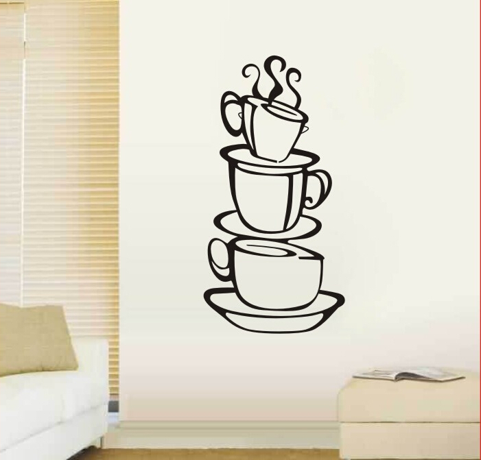 Delicious coffee cups wall decal vinyl wall sticker diy kitchen restaurant lounge home decor wall art wallpaper poster in wall stickers from home garden
