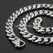 14mm 24'' Men's Jewelry Stainless Steel Cuban Curb Link-chain Necklace Heavy FashionTone Cool Clasp