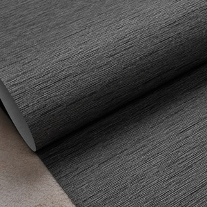 Image 4 - Grasscloth Effect Plain Textured Room Wallpaper Roll Modern Simple Wall Paper For Bedroom Living Room Home Decor,Dark Grey