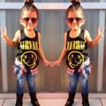 2016 New Toddler Kids Baby Girls Sleeveless Smile Face Cotton Vest Top T Shirt AU-TY