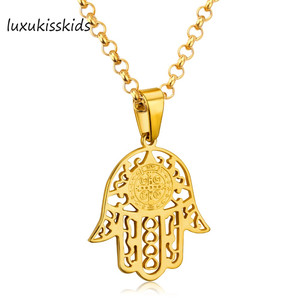 LUXUKISSKIDS Hamsa Lucky Hand Pendant Necklace Women Men Trendy Gold Color Stainless Steel Link Chain Amulet Pendant Necklaces