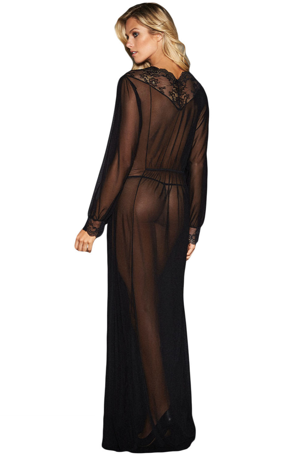 2018 New Summer Women s Sexy Black Sheer Long Sleeve Lace Robe Gown Long  Dress with Thong LGY31037-in Robes from Underwear   Sleepwears on  Aliexpress.com ... b63936945