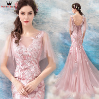 Mermaid Lace Appliques Long Formal Pink Evening Dresses 2018 New Design Prom Party Dress Evening Gowns