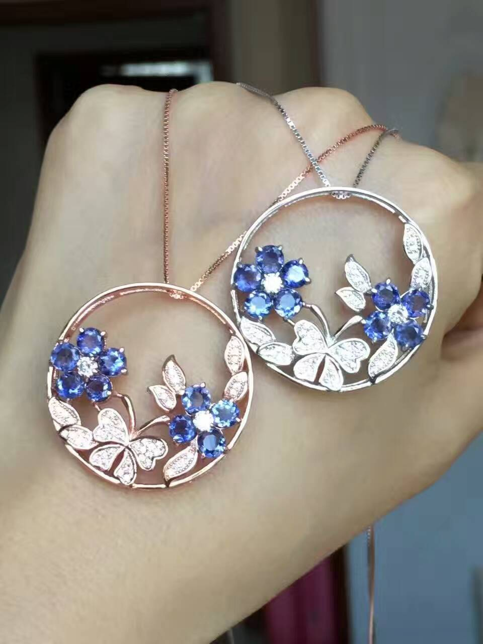 natural blue iolite gem pendant S925 silver Natural gemstone Pendant Necklace trendy Luxury flower butterfly women party jewelry natural ice jade gem pendant s925 silver natural gemstone pendant necklace luxury big round flower women gift party gift jewelry
