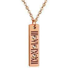 Classics Women & Men Necklace Stainless Steel Zircon Necklaces Roman Numeral Luxury Jewelry Top Quality Wedding Jewelry