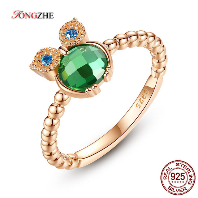 bd9286b4f TONGSHE 100% Authentic 925 Sterling Silver Rings Jewelry Owl Animal Green  Stone Rose Gold Cute Ring For Women Gift KLTR127-1