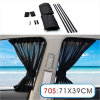 2 x Update 70S 71*39cm Car Styling Adjustable Vehicles Elastic Auto Car Side Window Sunshade Curtain Black/Beige/Gray