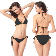 цена на Push Up Sexy Bikini Woman Summer 11 Color Solid Low Waist Two Piece Swimsuit Female String Swimwear Beachwear Bath Suit