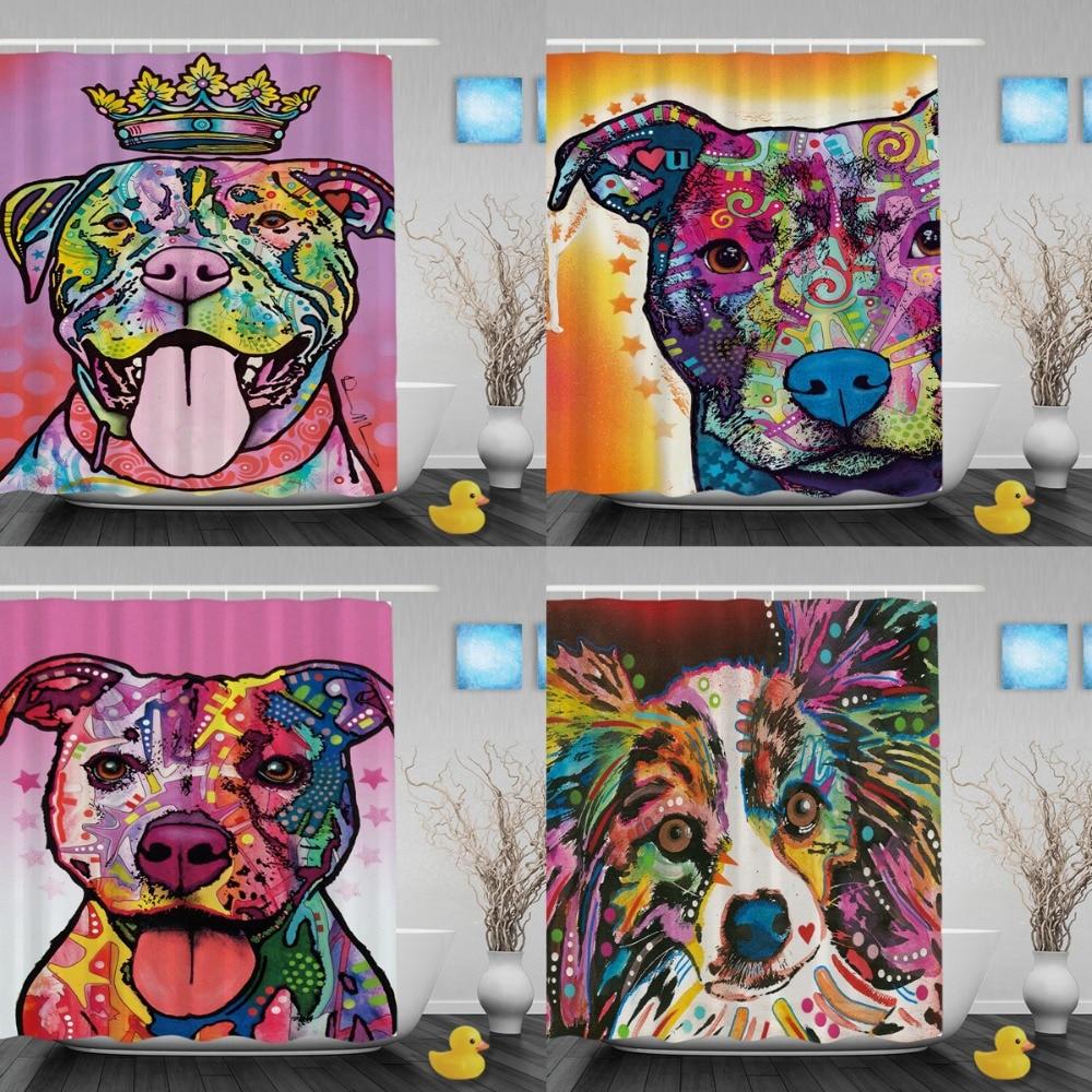 Grappige Pitbull douchegordijnen Lichtheid Art Hond Badkamer - Huishouden
