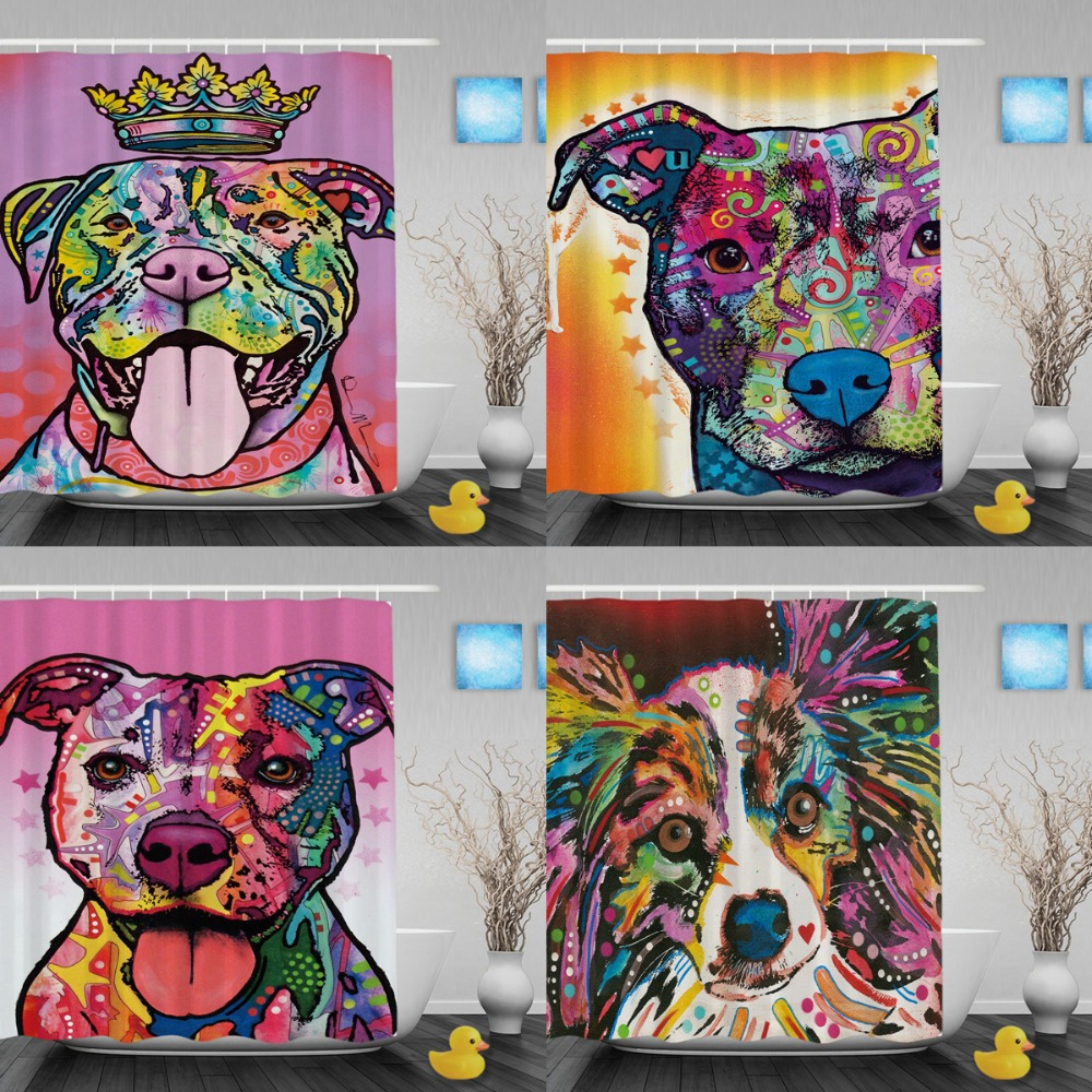 Divertidas cortinas de ducha Pitbull Lightness Art Dog baño cortinas - Bienes para el hogar