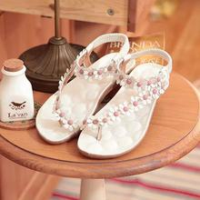 Korean fashion women's sandals Herringbone summer new sandals three-dimensional flowers casual beach sandals(China)