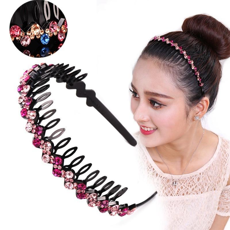AWAYTR New Bezel Crystal Rhinestone Hairband For Women Girls Headband Fashion Bead Hair Accessories With Teeth Non-Slip Headwear