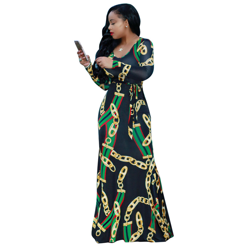 Aphrodite Home Women Dress Plus Size Africa Clothing Trendy Gold Chain Print Long Sleeve Belt Bodycon