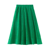 6 to 16 years kids & teenager girls summer lace hollow out solid green mustard eleagnt skirts children fashion flare skirt