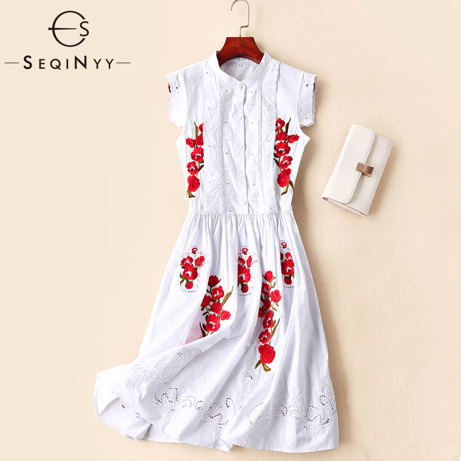SEQINYY Cotton Dress 2019 Summer New Fashion Design Hollow Out A line Red Flowers Embroidery High