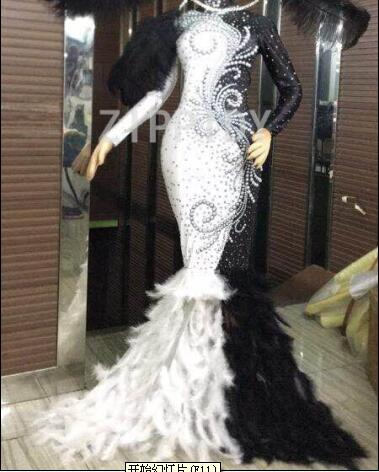 Birthday Celebrate Outfit Nightclub Party Singer Black White Rhinestones Pearls Feather Stretch Long Dress Show Costume Dress-in Dresses from Women's Clothing    1