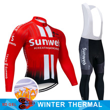 2019 프로 팀 SUNWEB 사이클링 저지 9D 턱받이 세트 MTB 유니폼 자전거 의류 망 겨울 열 양털 자전거 의류 사이클링 착용