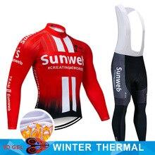 2019 プロチーム sunweb サイクリングジャージ 9D よだれかけセット mtb 制服バイク服メンズ冬の熱フリース自転車服サイクリング着用