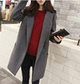 Women Slim Long Woolen Coat autumn Winter Jacket Plus Size Female Single Breasted Outerwear 2015 New Fashion Black Gray ZP335