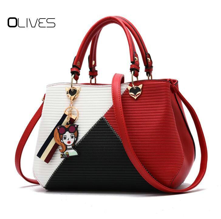 <font><b>OLIVES</b></font> Women Brand New Design <font><b>Handbag</b></font> Black And White Stripe Tote Bag Female Shoulder Bags High Quality PU Leather Purse