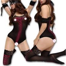 Sexy Lingerie Hot Bodystocking Teddiy Erotic Underwear Lenceria Bodysuit Sheer Nylon Stockings Sexy Costumes Plus Size WY261
