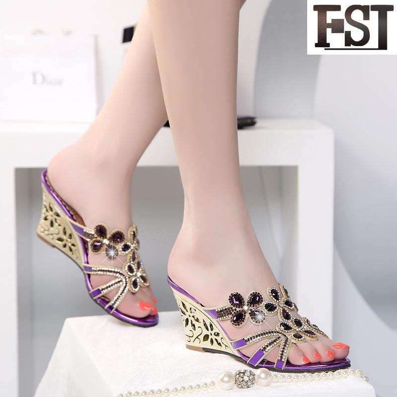 Ue Mezclados Alto Fsj01 Fsj en Oveja Flor 40 Tamaño Mujeres 34 Genuino La Tacón Slip Sandalias Zapatos Cuñas Cerdo De Colores Cuero Piel 4pnUg4q