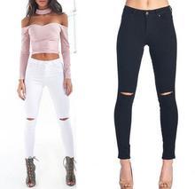 2017 Women Knee Hole Stretch Slim Skinny Cotton Denim Jeans Pencil Pant Fashion High Waist White and Black Jeans Pants Plus Size