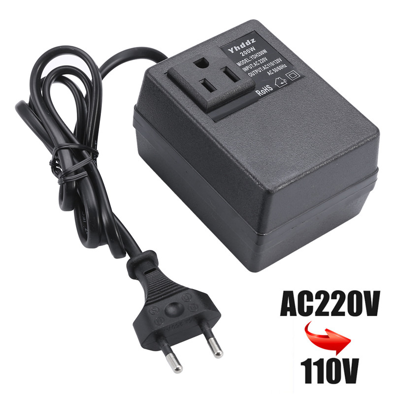 Mayitr <font><b>200W</b></font> AC <font><b>220V</b></font> <font><b>to</b></font> <font><b>110V</b></font> Travel Converter Single Phase Transformer Power Adapter EU Plug for Transformers image