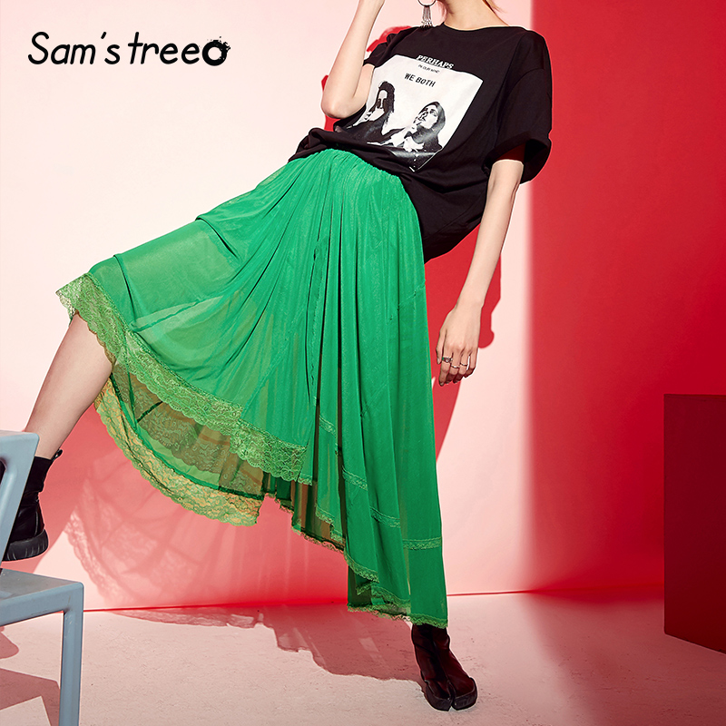 Samstree Green Lace Patchwork Women Skirts 2019 Summer Mid Waist Skirt Female Casual Office Lady Mesh