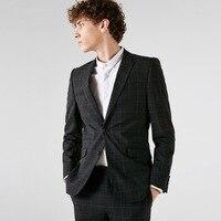 50% wool high quality material blazer men smart casual single breasted man blazer slim fit 2018 men clothing party wedding groom