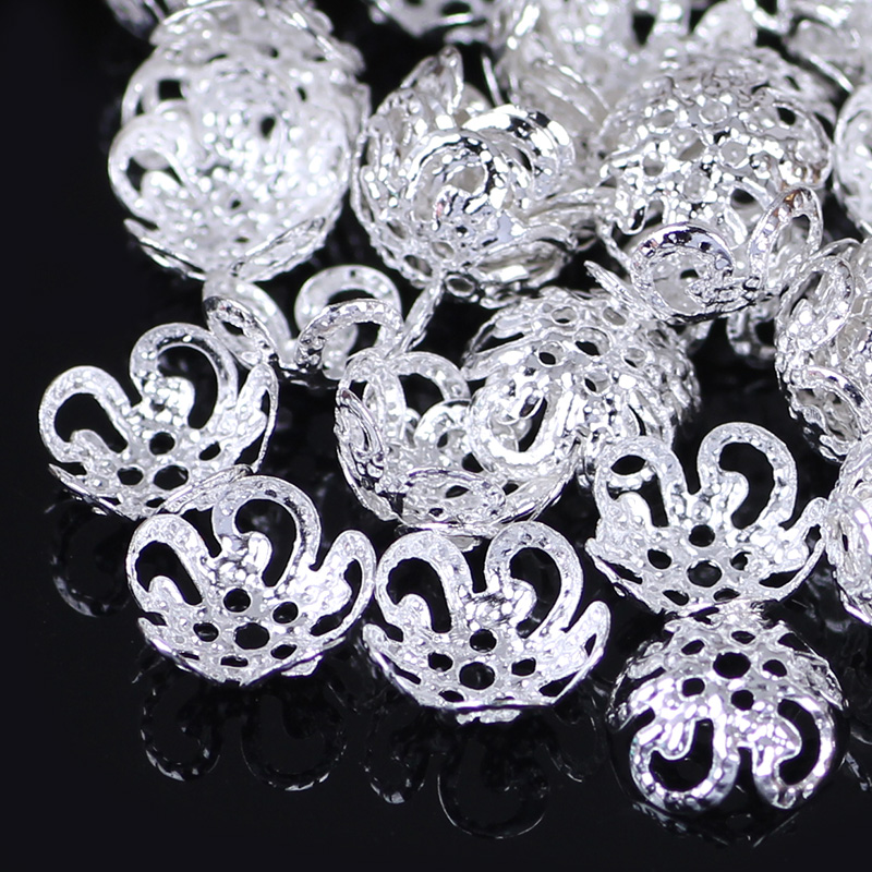 ZHUBI 6/8/12mm Fittings For Accessory Components Findings Separate Beads Alloy Flowers For DIY Necklace Bracelet Jewelry Making
