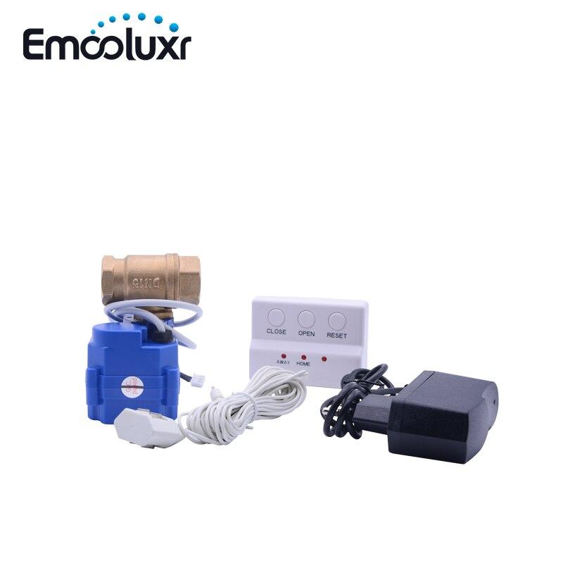 Alarme de Sonde De l'eau de Fuite Détecteur de Système D'alarme de Sécurité avec 1/2 Motorisé Solide En Laiton Ball Valve BSP DN15