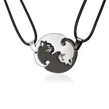 Rinhoo Couples Jewelry Black white Couple Necklace stainless Steel animal cat Pendants drop shipping
