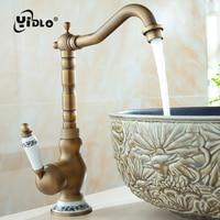 Bathroom Basin Faucet Antique Tap Vintage Kitchen Sink Tap Decorative Ceramic Brass Tap Basin Mixer Water Bronze Faucet B5