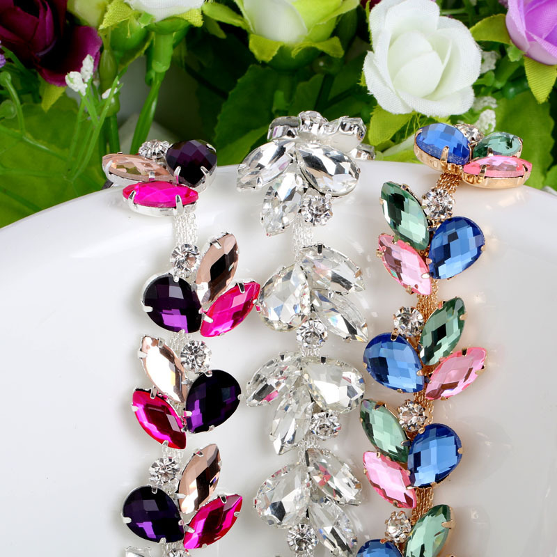 Colorful Crystal Silver Base Glass Rhinestone Cup Chain DIY Wedding Dress Decoration And Headpiece Jewelry Accessories