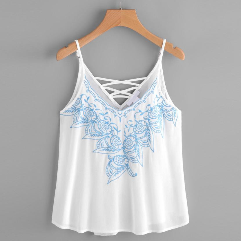 Fairies tell White Women Tops Sexy <font><b>Blue</b></font> Flower <font><b>Embroidered</b></font> Strappy Cami Top Loose <font><b>Tank</b></font> Top Tops De Verano Para Mujeres #555