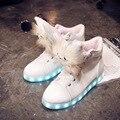 2017 nuevos estilos de hermosas chicas amantes shoes ilumina led shoes plata brillante 7 colores únicos niños ocasional de neón luminoso sneak