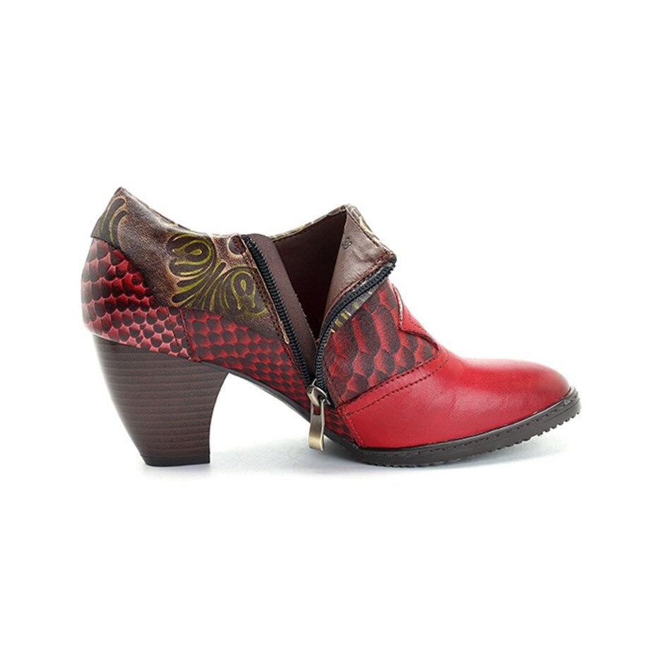 2019 Cuero Lateral Q37 Nuevo Hecho Las Oficina Vintage Tacón De A Cremallera Grueso Mano Planta Mujeres Serpiente Casuales Patrón Genuien Zapatos rxtUqBCRwr
