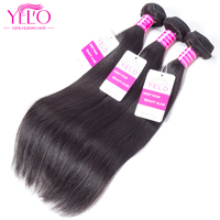 Yelo Peruvian Straight Hair Bundles Non-Remy Human Hair Weaves 100% Natural Weave Hair Extensions 1 Piece Can Buy 3 or 4 Bundles