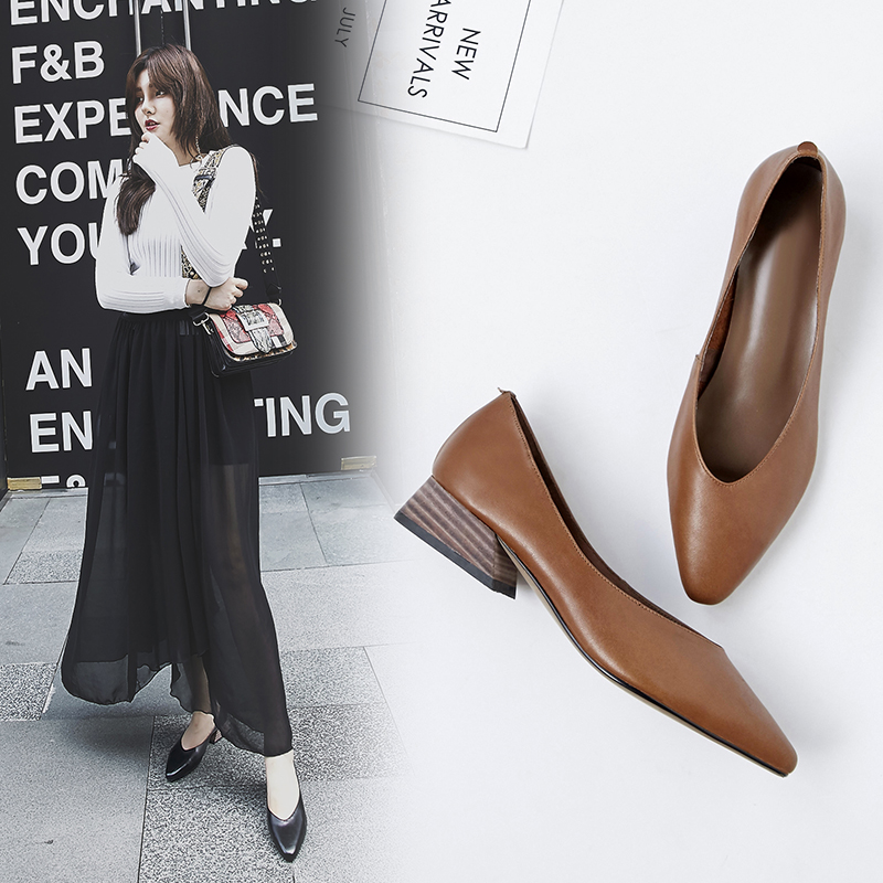 Ins Hot Pumps Women Genuine Leather Shoes Cow Leather Pointed Toe Office Shoes Career Shoes All-match Women Pumps Low Heel Shoes