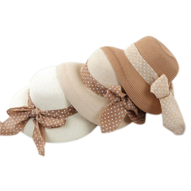 Korea Women Big Bowknot Straw Hat Travel Panama Cap Beach Hat Fedora Summer  UV Hats Wholesale 67d927792b54